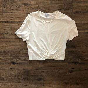 Tobi Xs never warn white crop t-shirt.